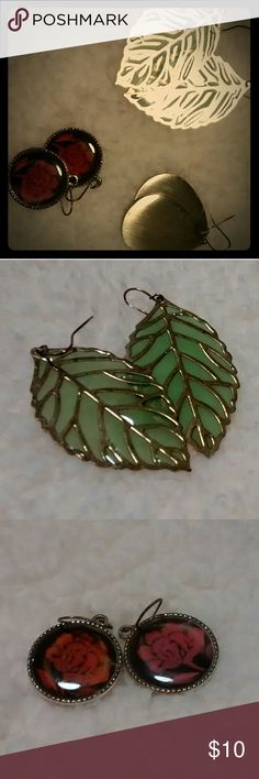 Earrings - lot 3 pairs Green leaves, red roses, brushed gold teardrops -- all in great condition! Jewelry Earrings