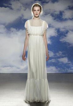 vestido de noiva jessy de jenny packham 2015 estilo vintage com folhos bordados em prata #casarcomgosto