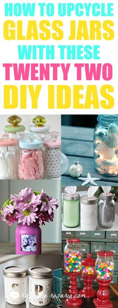"I am all for DIY projects! I love what she did to reinvent old mason jars into new useful crafts. SO many clever ways to ""upcycle"" glass jars! I am so pinning this for later!"