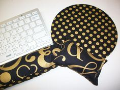 Mouse pad wrist rest set - mouse wrist keyboard rest  - Metallic gold dots black ampersand coworker gift graduation office Desk Accessories