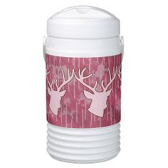 Pink Camo Buckhead Antlers Hunting Hunter Liquid Cooler Your friends will love this ladies - girls custom animal hunter liquid cooler. Perfect gift for your outdoors woman, sportswoman or hunting guide ! This product features a buck deer head antlers and a camo background. Great for a hunter, hunting guide, sportsman or woman, outdoorsman or deer lover.