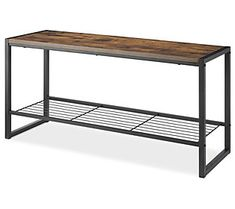 Whitmor Modern Industrial Entryway Bench w/Shoe Storage, Brown : Pottery & Glass Entry Storage Bench, Wire Storage Shelves, Bench With Shoe Storage, Entryway Bench, Entryway Ideas Shoe Storage, Bench Mudroom, Storage Benches, Entryway Decor, Industrial Bench