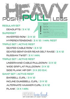 Push/Pull/Legs Weight Training Workout Schedule For 7 Days, , health fitness nutrition, Push Pull Legs Routine, Push Pull Legs Workout, Push Workout, Workout Splits, Gym Workout Tips, Workout Schedule, Weekly Workouts, Workout Calendar, Exercise Workouts