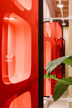 Rose-hued glass separations attach to the panels blurring the view between the cubicles. Fake Grass Carpet, Stanley Kubrick Photography, Spa Interior Design, 2001 A Space Odyssey, Beige Curtains, Visual Aesthetics, Mirror Panels, Design Museum, Spa Day
