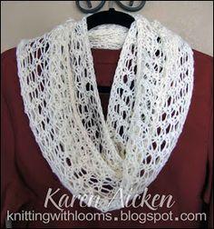 Knitting With Looms: Finished Lacy Infinity Scarf, Diy Abschnitt, Loom Scarf, Loom Knitting Stitches, Spool Knitting, Knifty Knitter, Loom Knitting Projects, Loom Hats, Loom Crochet, Finger Knitting, Tear