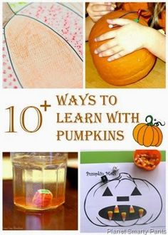 Learning with pumpkins for kids age 4-10: math, science, language arts, cooking, and art.