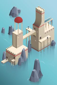 "Fan Art: Julie Mizreh's artblog — I just finished a homework we had for our illustrator class. We had to do a kind of ""level design"" in a Monument Valley style. I have in fact 3 versions of this one with different colours but this one is my favourite!"