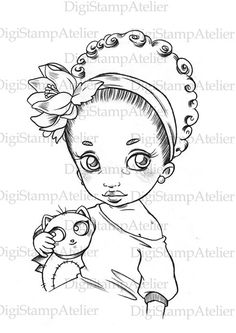 Little Girl with Plushie. INSTANT DOWNLOAD Digital Digi Stamps.