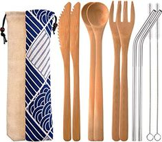 Blulu 2 Set Bamboo Cutlery Set Reusable Bamboo Flatware Set Travel Utensils Inches Bamboo Knife, Fork, Spoon, Metal Straw with Clean Brush (Style A) Metal Straws, Utensil Set, Flatware Set, Deco, 2 Set, Really Cool Stuff, Cleaning, Fork, Knives