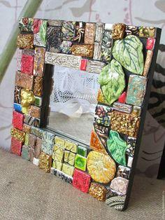 Купить Зеркало интерьерное - комбинированный, зеркало, зеркало настенное, зеркало в раме, дерево, Декупаж, Керамика