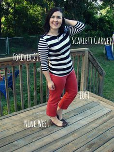 Thrifty Thursday / black and white stripes shirt / orange red capris / brown flats