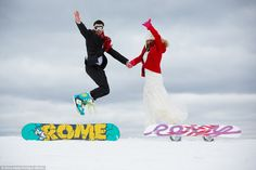 They wanted a cool and white wedding! 'Twas 'snow' problem as they got on 'board!'  http://www.dailymail.co.uk/femail/article-2878757/Bride-wears-2-000-wedding-dress-couple-celebrate-wedding-SNOWBOARDING-photoshoot.html