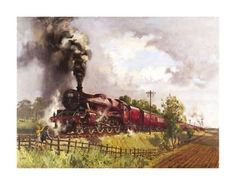 The British artist Terence Cuneo painted steam engines used as transport vehicles on iron rails. O britânico Terence Cuneo Steam Railway, Train Art, Old Trains, Train Pictures, Nostalgia, Colorful Artwork, Steam Locomotive, Train Tracks, Model Trains
