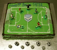 A son whose obsessed with Melbourne Victory. cake by Bianca bakes Football Party Games, Soccer Party, Soccer Birthday Parties, Cupcake Cakes, Cupcakes, All The Way, Victorious, Party Favors, Melbourne