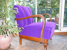 purple velvet upholstered chair by atolye afra, via Flickr