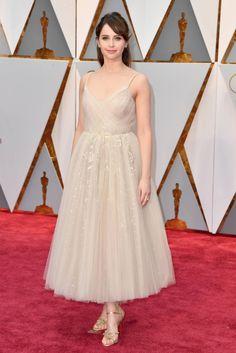 8e697488fceb1d Felicity Jones in Dior at the Oscars 2017 Celebrity Red Carpet