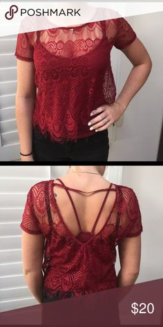 Jessica Simpson red lace top with tank Two pieces: short sleeve red lace top with matching tank top underneath. Never worn, no tags. Jessica Simpson Tops Blouses