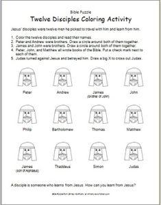 Bible Puzzle: Twelve Disciples Coloring Activity