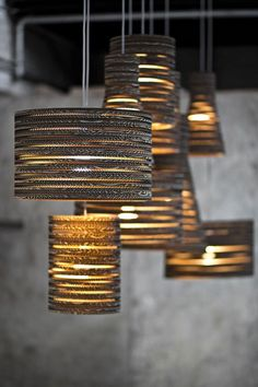 Beautiful Drum Shade & Cylinder Pendant Lamps Created out of Cardboard created by Tabitha Bargh