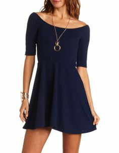 Textured Knit #Skater #Dress Get a student discount: http://www.studentrate.com/itp/get-itp-student-deals/Charlotte-Russe-10percent-Student-Discount--/0