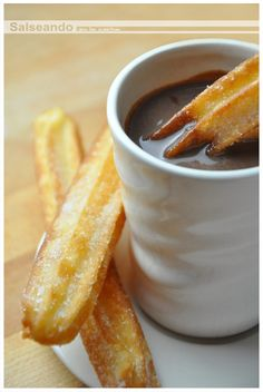 """Churros"" with chocolate: a Spanish classic! (don't speak spanish? google-chrome translate!)"
