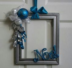 Picture Frame Wreath Silver White by badcandystudios. Silver Christmas Decorations, Christmas Frames, Easy Christmas Crafts, Blue Christmas, Christmas Projects, Simple Christmas, Winter Christmas, Christmas Holidays, Christmas Wreaths