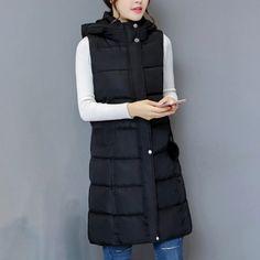 Dámská dlouhá vesta Evona - černá - Pošta Zdarma Winter Vest, Winter Jackets, Long Vests, Warm Autumn, Canada Goose Jackets, Zipper, Female, Casual, Coats