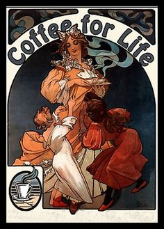 The background really doesn't have to be too crazy. Coffee for Life - Mucha by mpt.1607, via Flickr