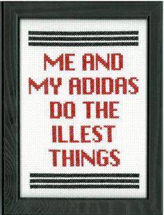 RUN DMC  My Adidas Cross Stitch by DefiantDamsel on Etsy, $35.00