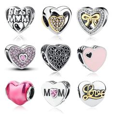 12 Style Sterling Silver MOTHER Charms Beads Bracelet Jewelry Valentine's Day