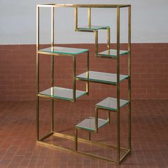 Romeo Rega; Brass and Glass Shelving, 1970.