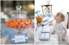 Cinderella party! I love the idea of having a party for a specific princess, and the pumpkin candy corn is so cute :)