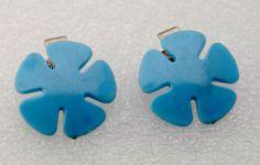 Vintage Blue Flower Hair Clip Pair Plastic Metal Hair Barrette Accessorie | eBay