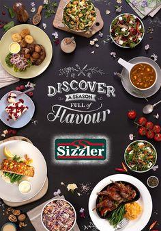 Sizzler – Discover a Season Full of Flavour. Churro, Digital Menu, Food Menu Design, Creative Food, Palak Paneer, Layout Design, Food Photography, Plates, Spring