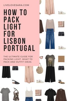 Summer Packing Lists, Packing For Europe, Travel Wardrobe, Capsule Wardrobe, Lisbon Portugal, Portugal Trip, Travel Capsule, Black Cropped Pants, Packing Light