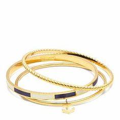 Anchor Stripe Stacking Bracelet Gold/navy
