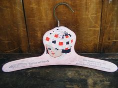 1920's Child's Clothes Hanger, Antique Hand Painted Wooden Advertising Hanger