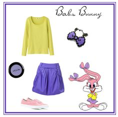 Babs Bunny of Tiny Toons. Sweater by Uniqlo, $4.  Skirt by Zalando, $101.  Sneakers by Vans at KarmaLoop, $55.  Bow necklace at Etsy, $8.  Eyeshadow by Stila, $8.