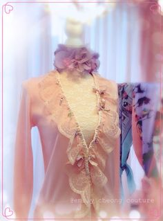 Fairytale Collection - peach pink spring top  leather designer couture  lace frenchlace chic classy fashion womenswear ladieswear vintage high-fashion fashion cardigan https://www.facebook.com/emilycheongcouture