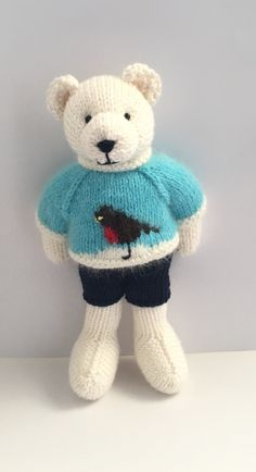 Excited to share the latest addition to my shop: Knitted bear Navy Blue Shorts, Etsy Uk, Small Businesses, Aqua Blue, Rabbits, Teddy Bear, Etsy Shop, Knitting, Children