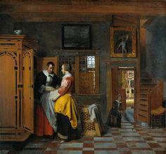 Pieter de Hooch - At the Linen Closet - 1663