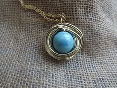 Wire wrapped Turquoise Ceramic Stone Pendant - pinned by pin4etsy.com