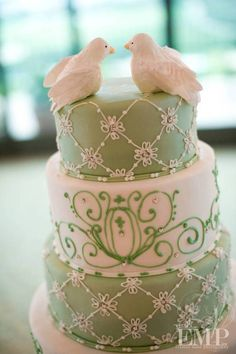 Wedgwood green cake with doves