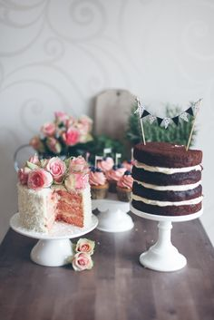 Love the visual layers of this humble dessert table, Two cakes sand cupcakes all in different sized cake stands. :) I also like the little bunting on top of the naked cake. Bolos Naked Cake, Naked Cakes, Pretty Cakes, Beautiful Cakes, Amazing Cakes, Beautiful Desserts, Cupcakes, Cupcake Cakes, Shoe Cakes