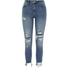 River Island Blue Alannah ripped relaxed skinny fit jeans (€75) ❤ liked on Polyvore featuring jeans, pants, bottoms, calça, blue, skinny jeans, women, blue ripped skinny jeans, tall skinny jeans and super skinny ripped jeans