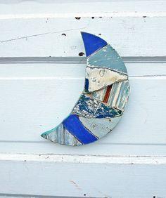 Reclaimed Wood Art, Crescent Moon, Recycled Wood Art, Mosaic  Blue Moon Wall Art