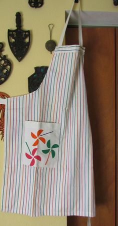 Bib Style Vintage Apron in Multi-Color Stripes with Pocket