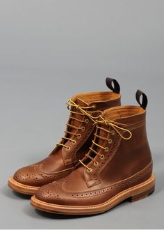 Trickers for Triads Cavalier Longwing Brogue Boot Brown Goodyear Welt, Cavalier, Brogues, Brown Boots, Gentleman, Combat Boots, Brown Leather, Footwear, Pairs