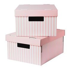 """For organization/storage in the girls closets. Only $5 for the set of two! PINGLA Box with lid - pink, 11x14 ½x7 """" - IKEA"""