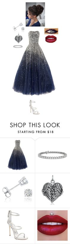 """""""EHPC: Yule Ball"""" by steviepizza ❤ liked on Polyvore featuring Marchesa, Blue Nile, Amanda Rose Collection, Bling Jewelry, Giuseppe Zanotti and GALA"""